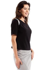 Black Short Sleeves Blouse with Silver Details