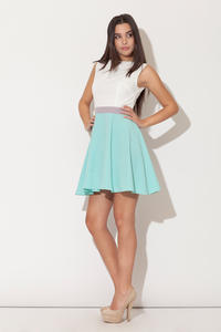 Green Seam Bodice Flippy Dress with Contrast Belt