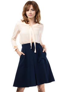 Dark Blue Flared Knee Lenght Skirt with Pockets