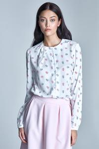 Ecru&Pink Delicate Pattern Long Sleeves Blouse