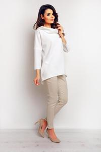 Ecru  Elegant Wide Tourtleneck Blouse