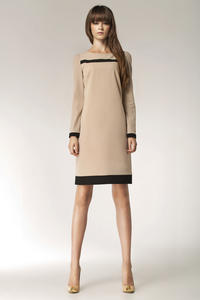 Beige Stylish Sunken Office Shift Dress