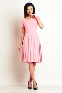 Powder Pink Light Pleats Midi Dress