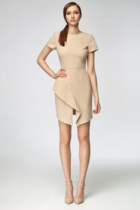 Beige Asymetrical Frill Mini Dress