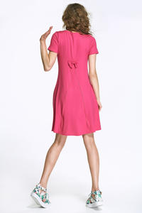 Fuchsia Flared Mini Dress with Bow at The Back