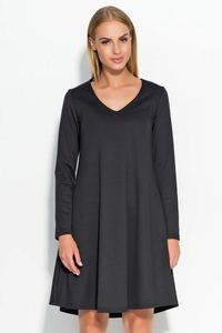 Black V-Neckline Flared Casual Dress