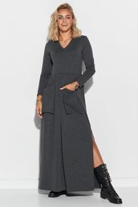 Dark Grey Maxi Dress with Big Pockets