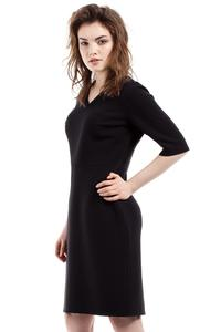 Black Soft Office Style Knee Length Dress