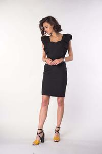 Black Fitted Dress with Frills and a Sweetheart Neckline
