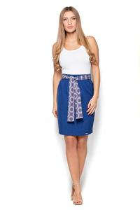 Blue Pencil Knee Length SKirt with Sash