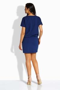 Dark Blue Elastic Waist Mini Dress