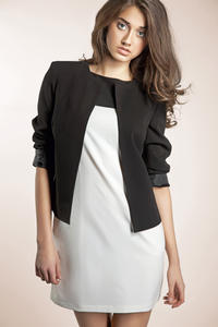 Black Front Open Jacket with 3/4 Sleeves