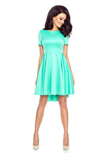 Mint Light Pleats Asymetrical Dress