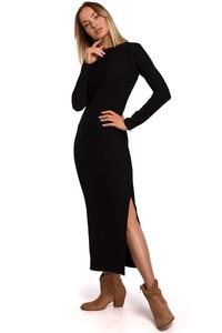 Classic Maxi Dress with a Slit (Black)