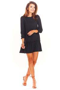 Black Trapezoid Dress with a Sewn Flounce