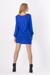 Blue Bat Sleeves Fitted Skirt Mini Casual Dress