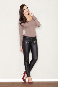 Black Faux Leather Stretch Skinny Pants with Slant Zipper Pockets