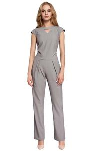 Gray Jumpsuit with V-neck