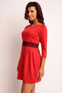 Red Mini 3/4 Sleeves Lace Waist Dress