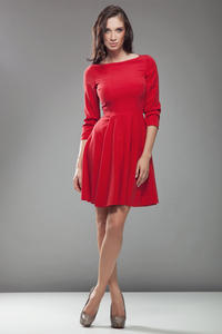 Red High Elegance Workwear Skater Dress
