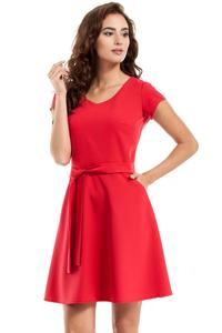 Red Short Sleeves Belted Mini Dress