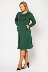 Green Double Fold Knee Length Dress PLUS SIZE