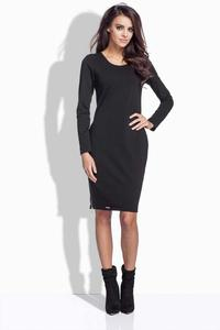 Black Simple Midi Dress with Zippers