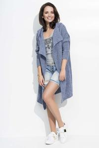 Jeans Blue Long Hooded Cardigan
