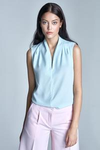 Sky Blue Sleeveless Stand-up Collar Wrinkled Blouse