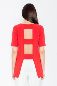 Red Elegant Cut-Out Back Blouse