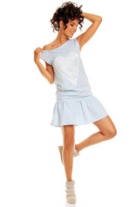Light Blue Teen Heart Smock Hip Dress