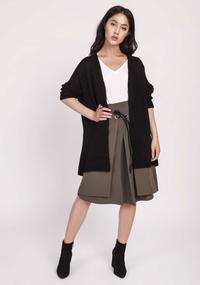 Black Lightweight Open Cut Cardigan
