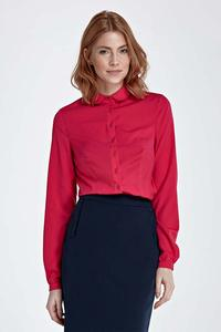 Fuchsia Long Sleeved Shirt with Round Collar
