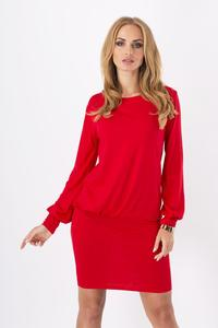 Red Bat Sleeves Fitted Skirt Mini Casual Dress