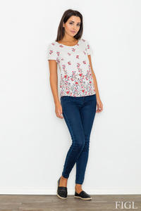 Ecru Short Sleeves Floral Pattern Blouse