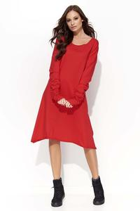 Red Flared Casual Dress