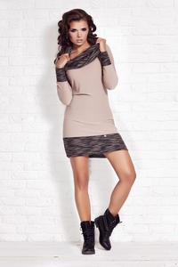 Beige Shift Dress with Flecked Cowl Neck