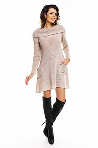 Beige Wide Tourtleneck Dress