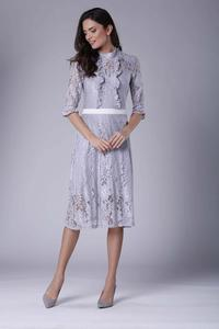 Grey Slim Waist Lace Dress