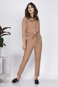 Carmel Brown Casual Jumpsuit with Shirts Style Top