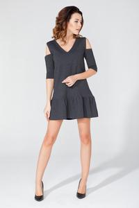 Dark Grey Mini Dress with Cut Out Shoulders