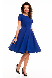 Blue Short Sleeves Light Pleats Dress
