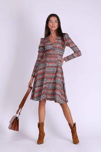 Boho Flared Envelope Dress with Long Sleeves