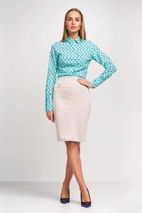 Beige Wide Waistband Office Pencil Skirt