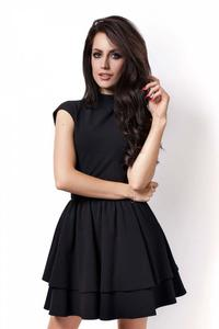 Black Mini Frilled Dress with Cut Out Back