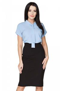 Blue Elegant Blouse with Self Tie Bow
