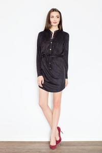 Black Snaps Closure Mini Dress