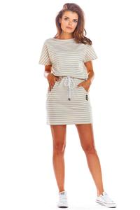 Beige Comfortable dress with straps at the waist with stripes