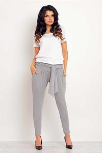 Grey Tapered Legs Jogger Belted Pants