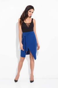 Blue Wrap Skirt with Self Tie Belt